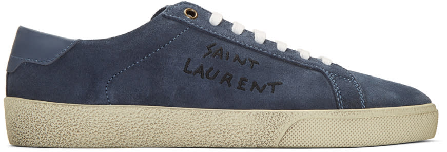 979913c02dd Saint Laurent Navy Suede Court Classic Sl 06 Sneakers
