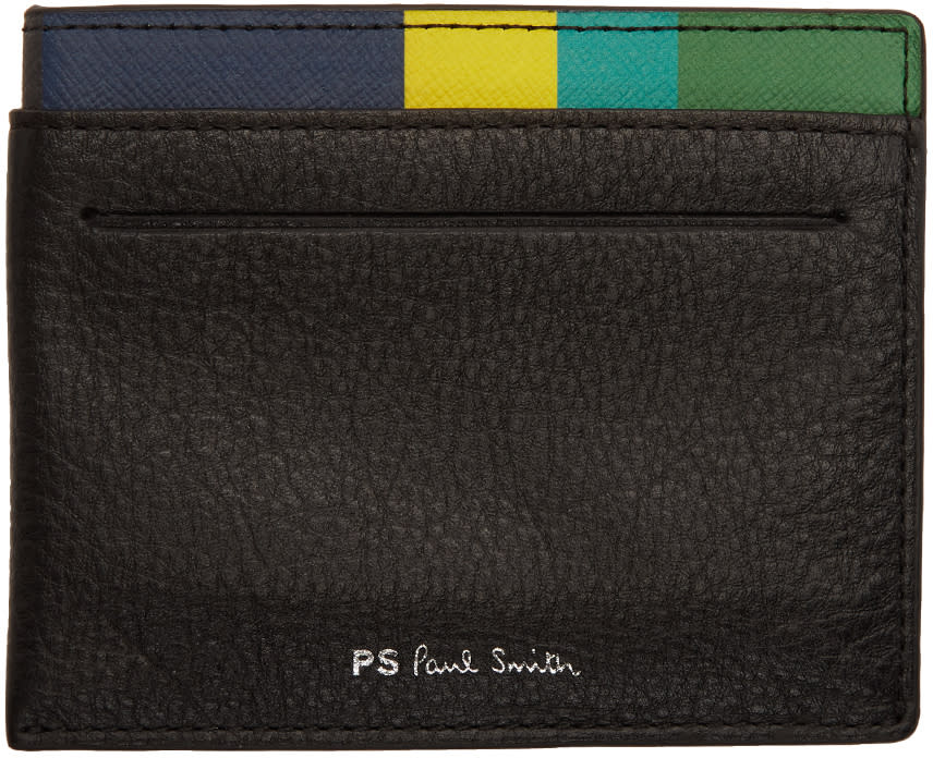 Ps By Paul Smith Black Leather Card Holder
