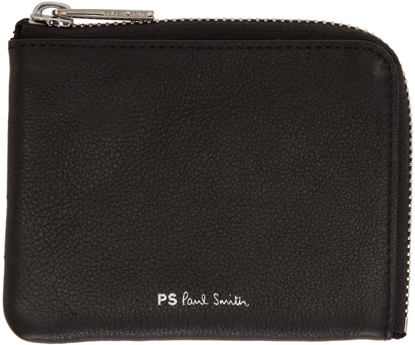 Ps By Paul Smith Black Leather Zip Wallet