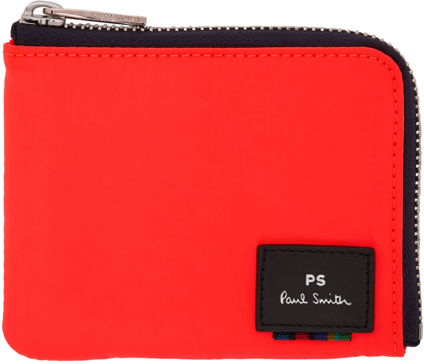 Ps By Paul Smith Orange Zipped Card Holder