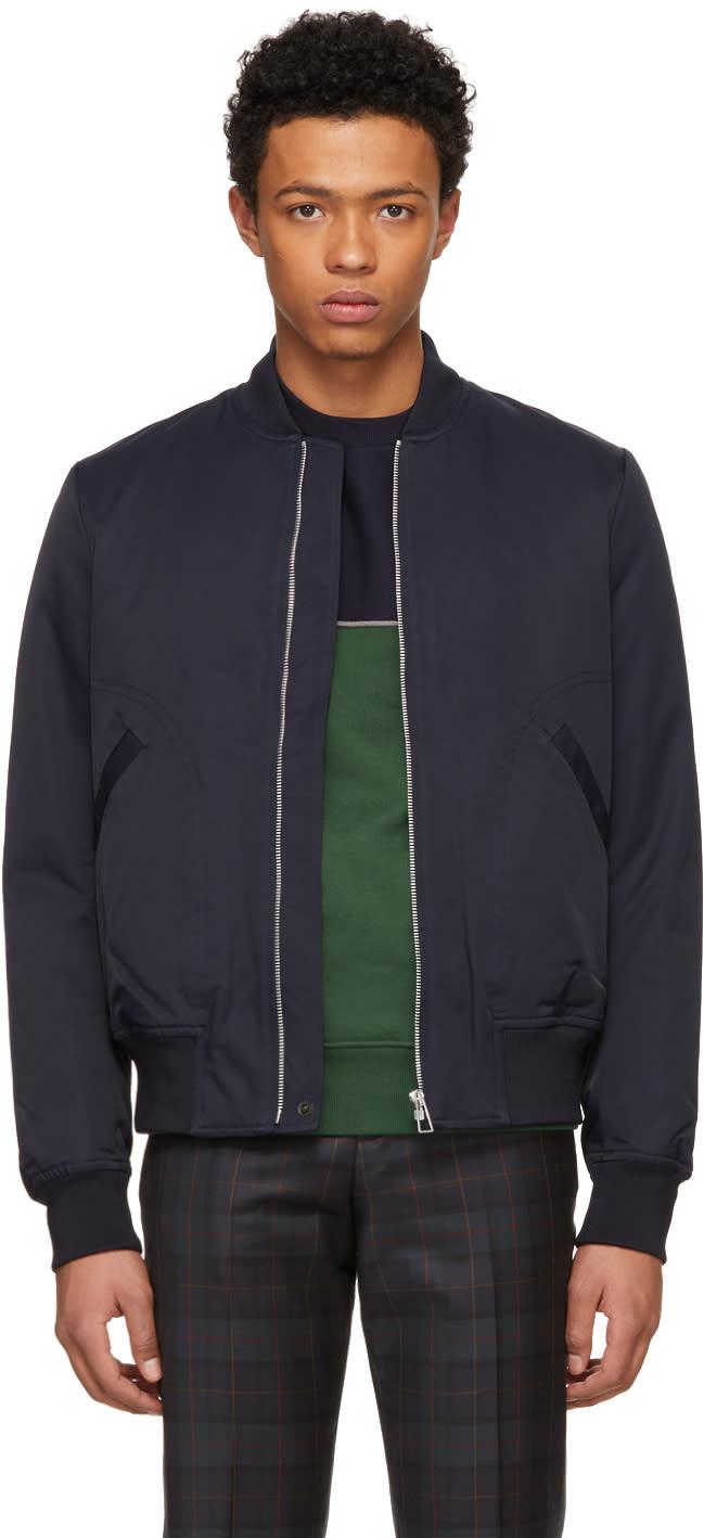 Ps By Paul Smith Navy Cotton And Nylon Bomber Jacket