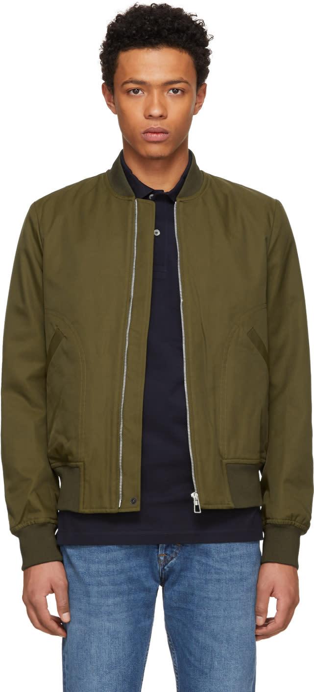 Ps By Paul Smith Khaki Cotton And Nylon Bomber Jacket