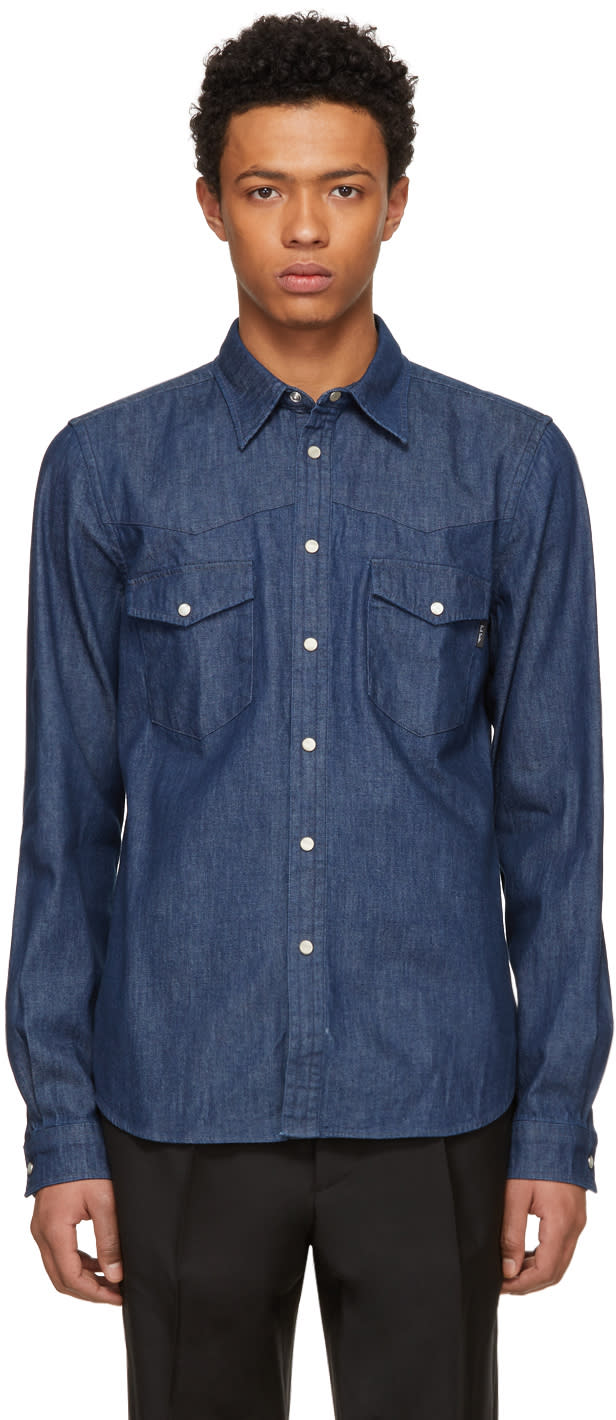 Ps By Paul Smith Blue Tailored Denim Shirt