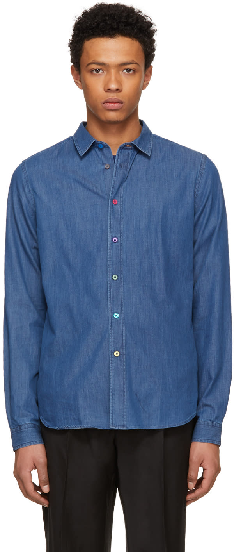 Ps By Paul Smith Blue Slim Denim Shirt