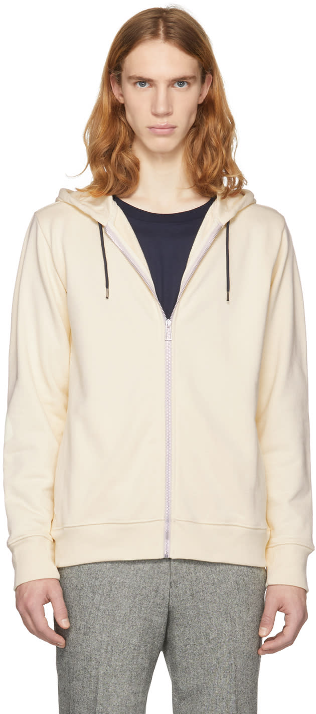 Ps By Paul Smith Off White Zip Hoodie
