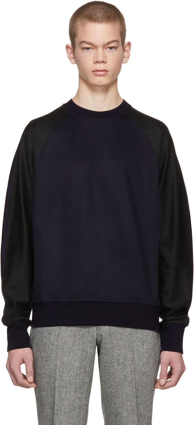 Ps By Paul Smith Navy And Black Raglan Sleeve Sweatshirt