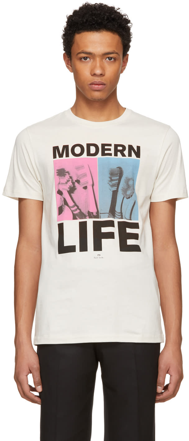 Ps By Paul Smith Beige Modern Life T Shirt