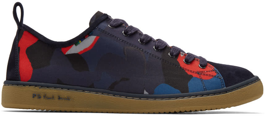 Ps By Paul Smith Navy and Red Camo Miyata Sneakers