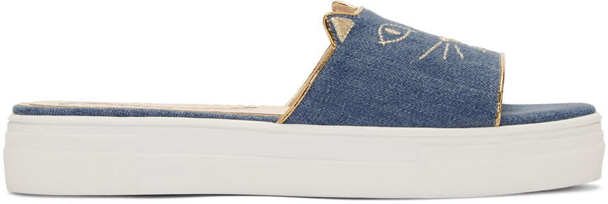 Charlotte Olympia Blue Denim Kitty Pool Slides