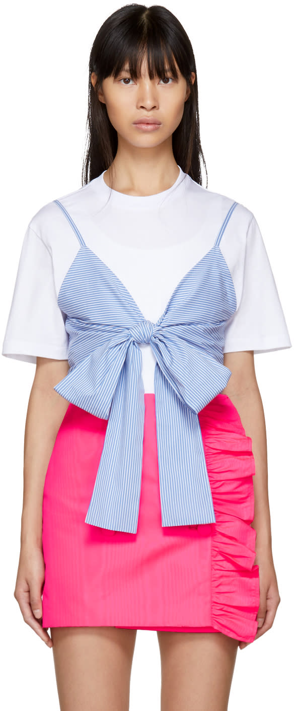 1d3b150a1 Msgm White and Blue Striped Bra T shirt