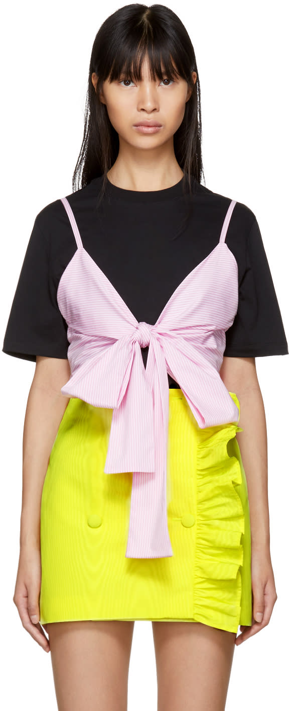 Image of Msgm Black and Pink Striped Bra T-shirt