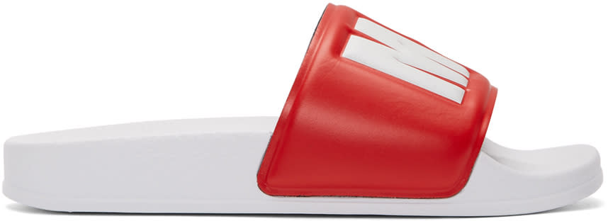 Msgm Red and White Logo Pool Slides