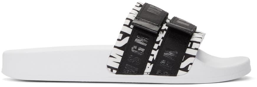 Msgm White and Black Velcro Pool Slides