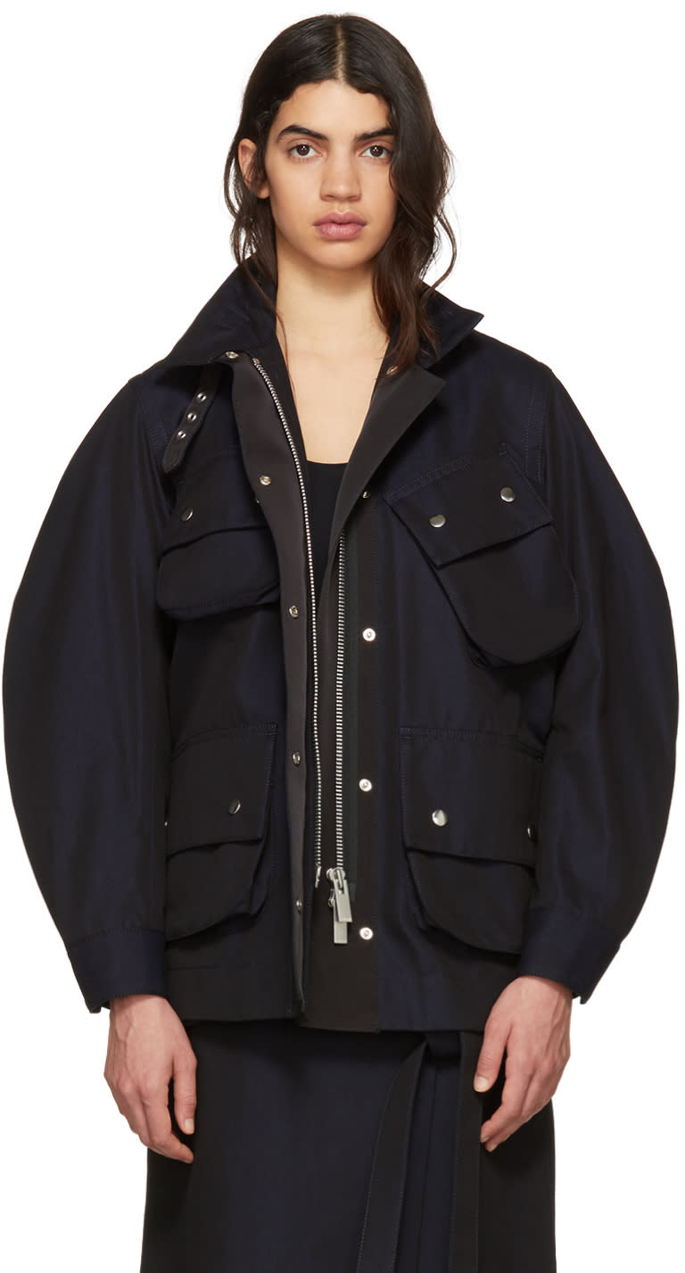 Sacai Navy Cotton Twill Coat