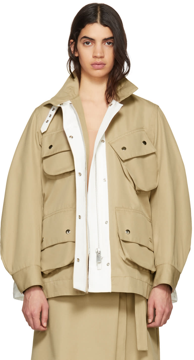 Sacai Beige Cotton Twill Coat