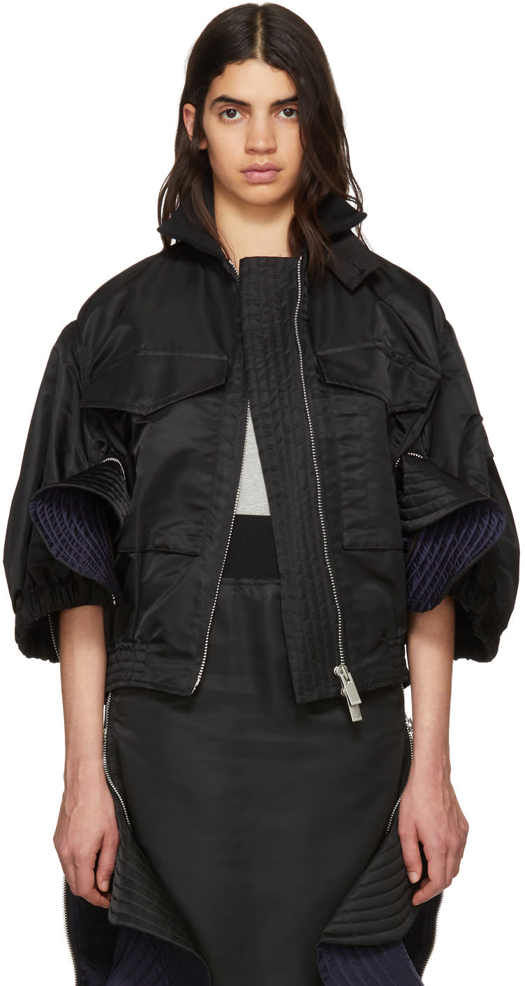 Sacai Black Ruffled Ma-1 Bomber Jacket