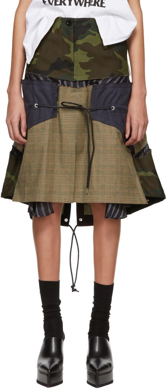 9612eec34c960 Sacai Multicolor Glencheck Stripe Skirt