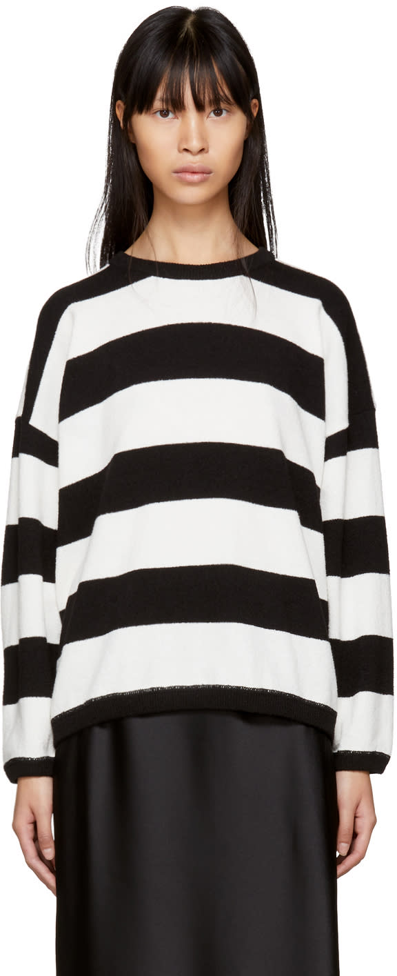 Image of 6397 Black and White Striped Terry Crewneck Sweater
