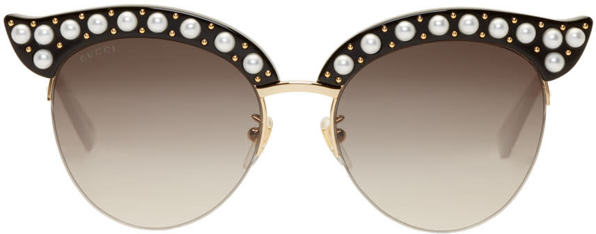 691c07a1aa6 Gucci Black Pearl Cat eye Sunglasses