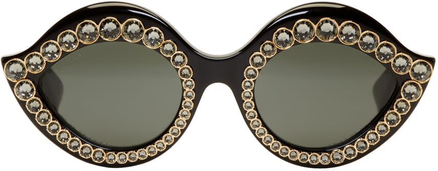 43f966d548 Gucci Black Crystal Cat eye Sunglasses