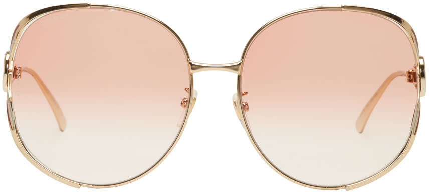6a3fc1bc83 Gucci Gold and Pink Oversized Urban Fork Sunglasses