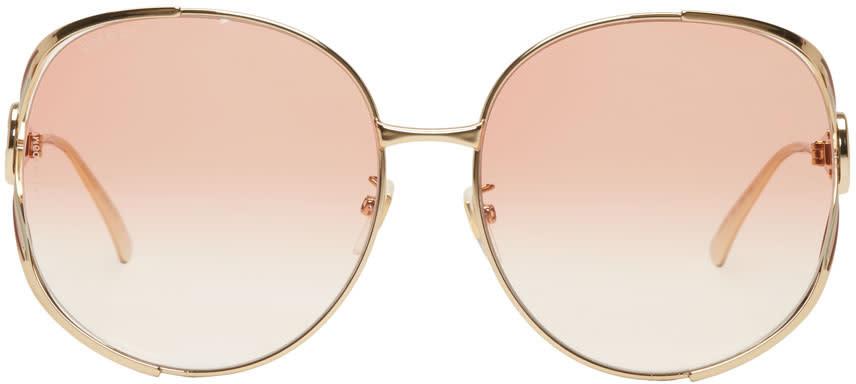 54e63954e1 Gucci Gold and Pink Oversized Urban Fork Sunglasses