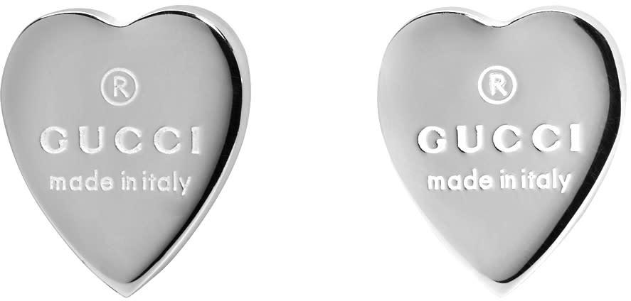 75e24ec55 Gucci Silver Logo Heart Earrings