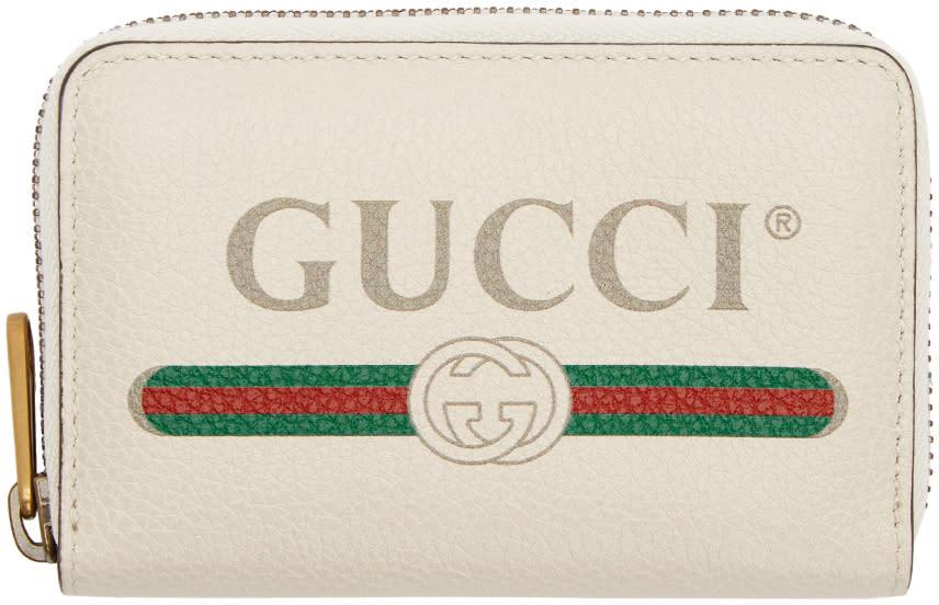 Gucci ホワイト ロゴ ジップ アラウンド ウォレット