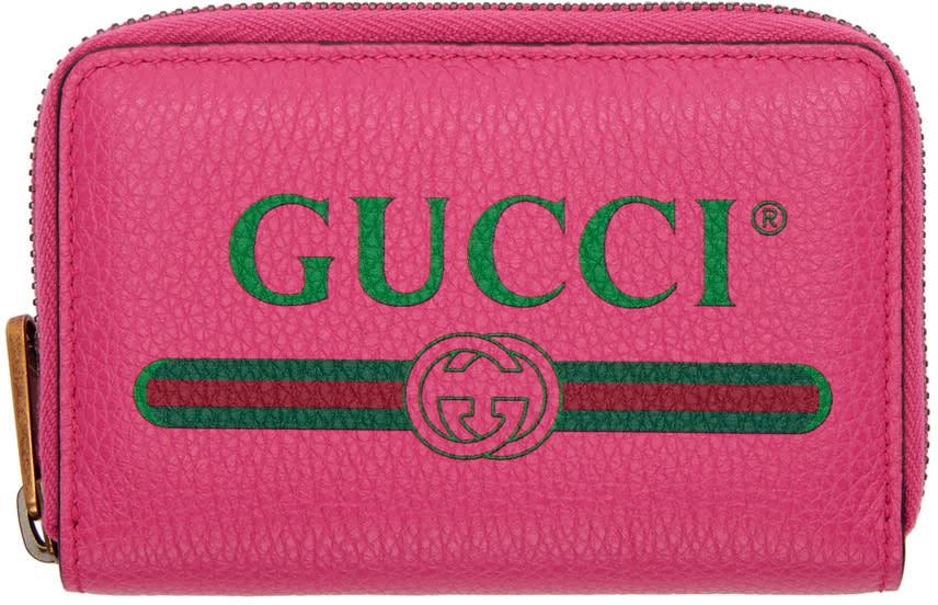 Gucci ピンク ロゴ ジップ アラウンド ウォレット