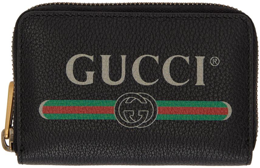 Gucci ブラック ロゴ ジップ アラウンド ウォレット