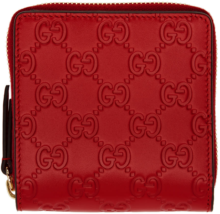 75506804487a Gucci Red Linea A Zip Wallet