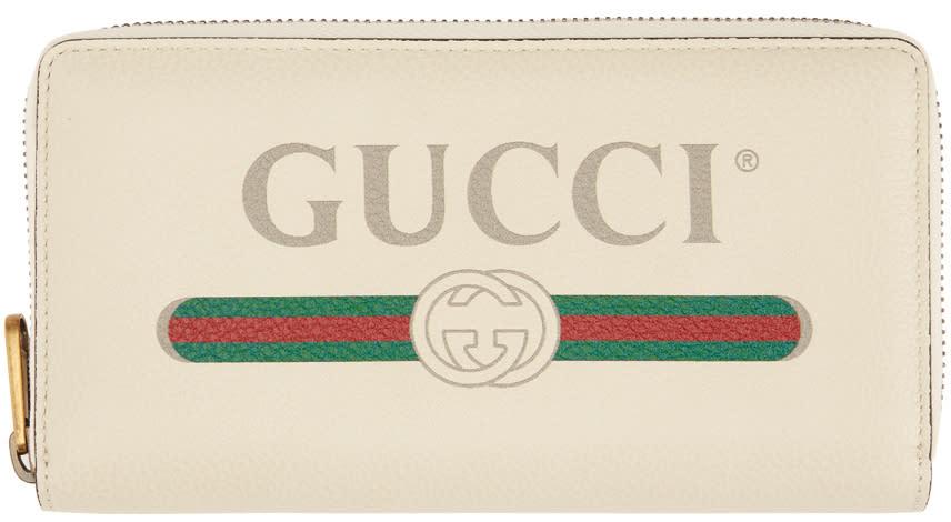 Gucci オフホワイト ロゴ コンチネンタル ウォレット