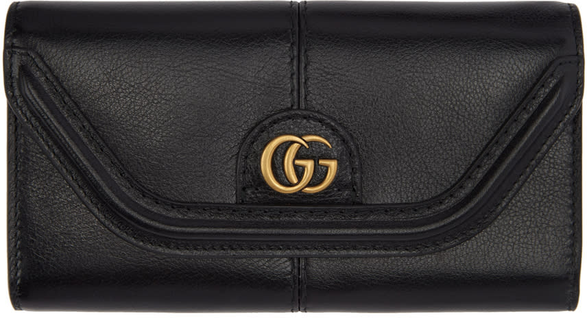 Gucci ブラック Gg デフォルト フラップ ウォレット