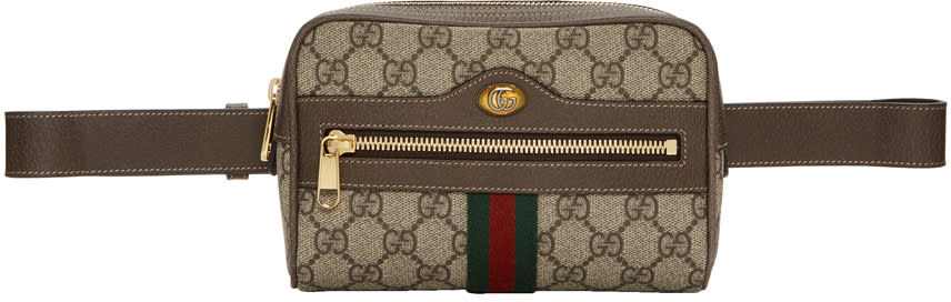 2c875bb7944 Gucci Brown Small Gg Supreme Ophidia Belt Bag