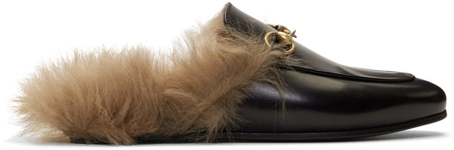 GucciBlack Fur-lined Princetown Slippers