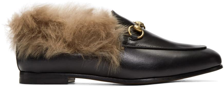 Gucci-Black-Jordaan-Fur-Slippers