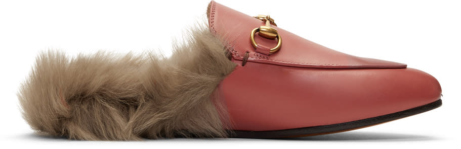 Gucci-Pink Fur-lined Princetown Slippers