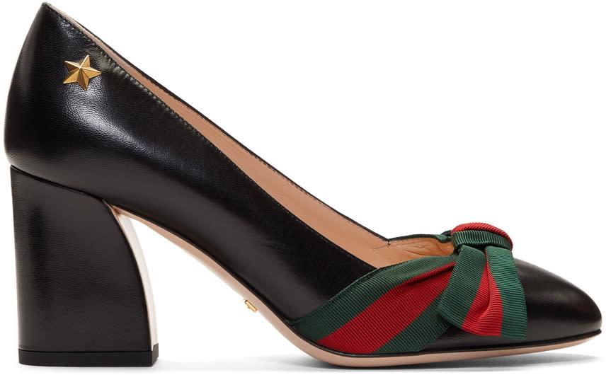 Gucci-Black Grosgrain Bow Aline Heels