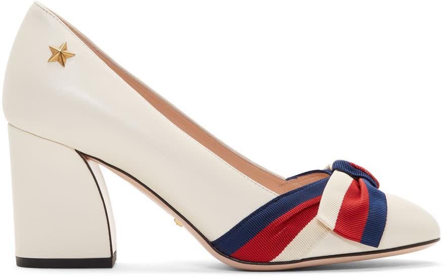 Gucci-White Grosgrain Bow Aline Heels