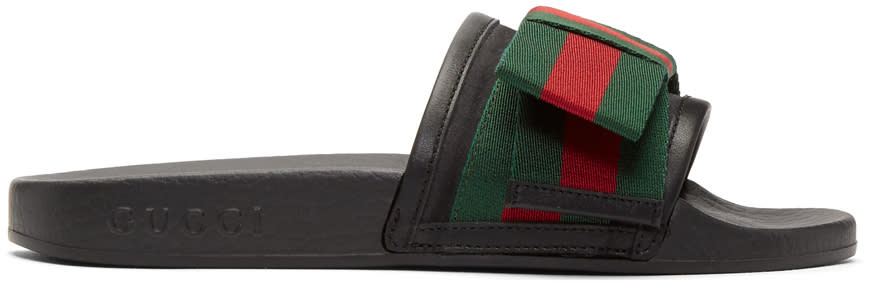 Gucci Black Bow Pool Slides