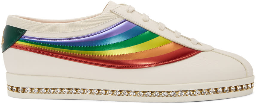 1c9f1671b Gucci White Crystal Falacer Rainbow Sneakers