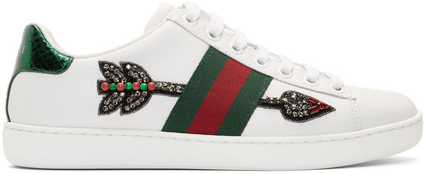 7f7e67ce Gucci White Bleeding Arrow Ace Sneakers