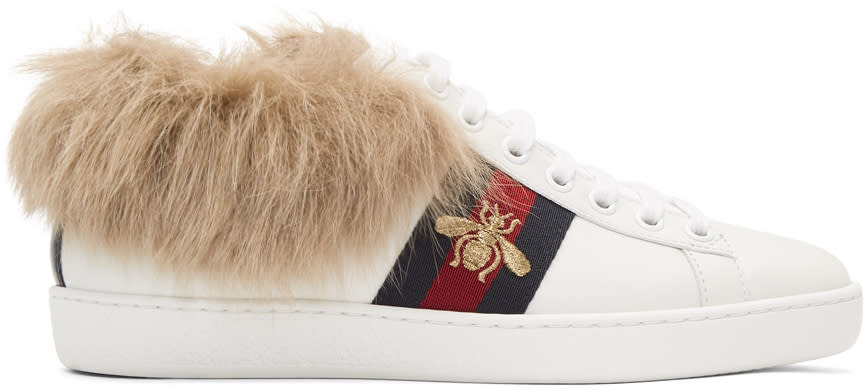 Gucci-White-New-Ace-Fur-Sneakers