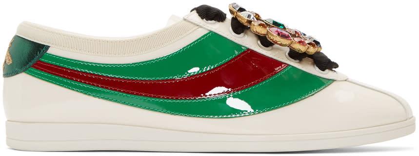 83a57296936 Gucci Ivory Falacer Bowling Sneakers