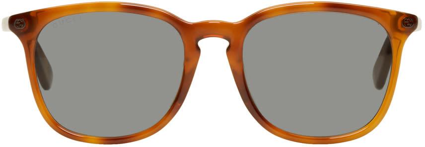 90aa7a263aa21 Gucci Tan Tortoiseshell Square Sunglasses