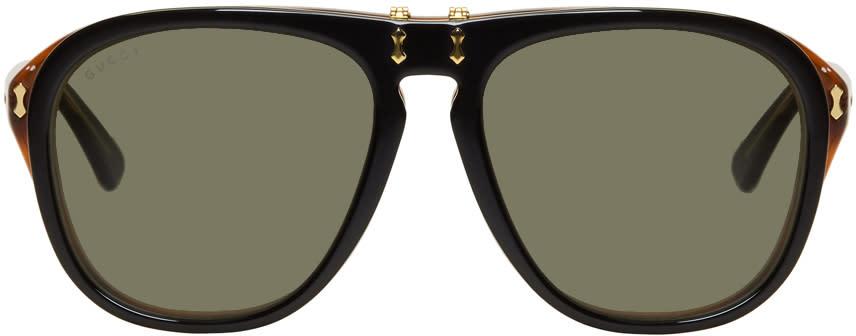 d58409139 Gucci Black and Tortoiseshell Flip up Pilot Sunglasses