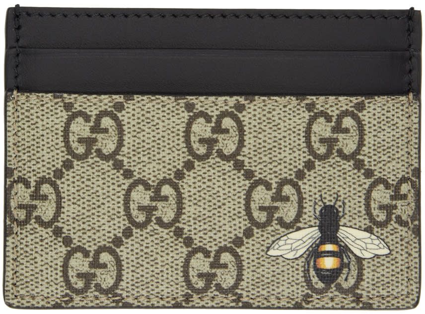 Image of Gucci Beige and Black Gg Supreme Bee Card Holder