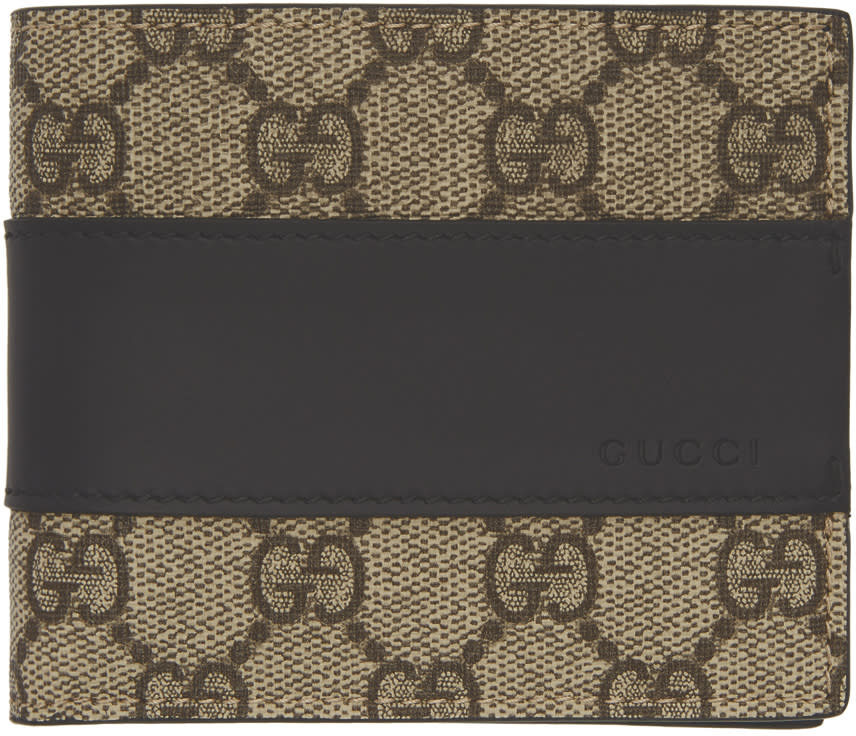 9084d9a314c Gucci Beige and Black Gg Supreme Band Wallet
