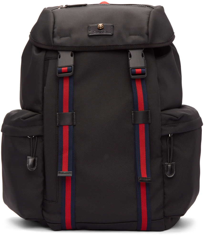 Gucci Black Canvas Flap Backpack f9d9cc3e0193c