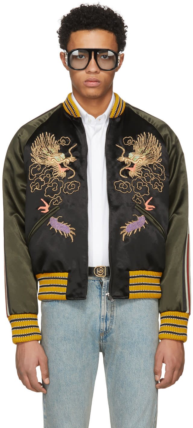 3caad915d Gucci Black and Green Embroidered Souvenir Jacket
